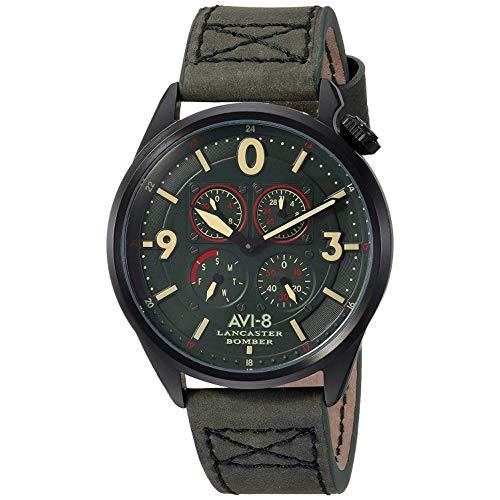 AVI-8 Men's Lancaster Bomber Stainless Steel Japanese-Quartz Aviator Watch with Leather Calfskin Strap, Green, 22 (Model: AV-4050-04)