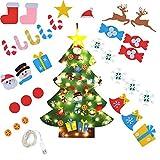 MEISHANG Árbol de Navidad De Fieltro,Desmontable Adornos navideños Decoración del Hogar,Árbol de Navidad De Fieltro con Luces,Árbol de Navidad De Fieltro DIY,Árbol de Navidad De Pared