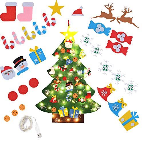 MEISHANG Filz Weihnachtsbaum, Weihnachtsbaum Dekoration Hängend Dekor für Kinder Weihnachts Geschenk mit Ornament Christmas Wandbehang Deko (Grün)