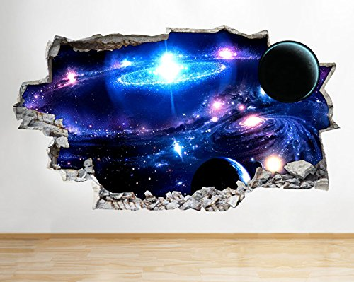 F327 Space Nebula Galaxy Universe Smashed Wall Decal 3D Art Stickers Vinyl RoomKids Bedroom Baby Nursery Cool Livingroom Hall Boys Girls