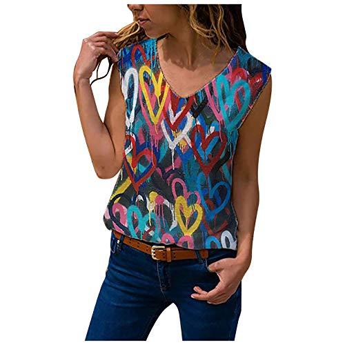 Camiseta Mujer de Sin Manga Blusa con Estampado de Flores de Colores...