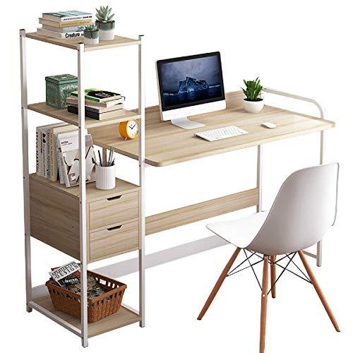 Zjcpow Mesa de estudio de escritorio para computadora portátil, mesa de estudio con estantes de almacenamiento, cajones, muebles de oficina, PC, portátil, mesa de trabajo (tamaño: L; Color: arce)