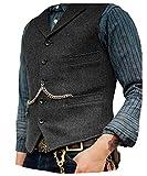 Solove-Suit. Chaleco de traje clásico para hombre, patrón en espiga, corte entallado, solapa de punto - blanco - Small