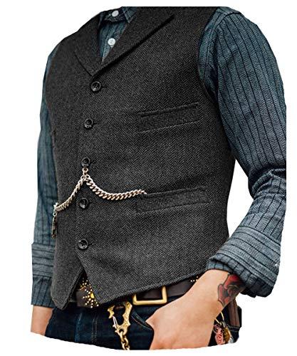 Lovee Tux Herringbone Weste Formale Business Notch Revers Männer Anzug Weste Wolle/Tweed Weste für Hochzeit(L,Grau)