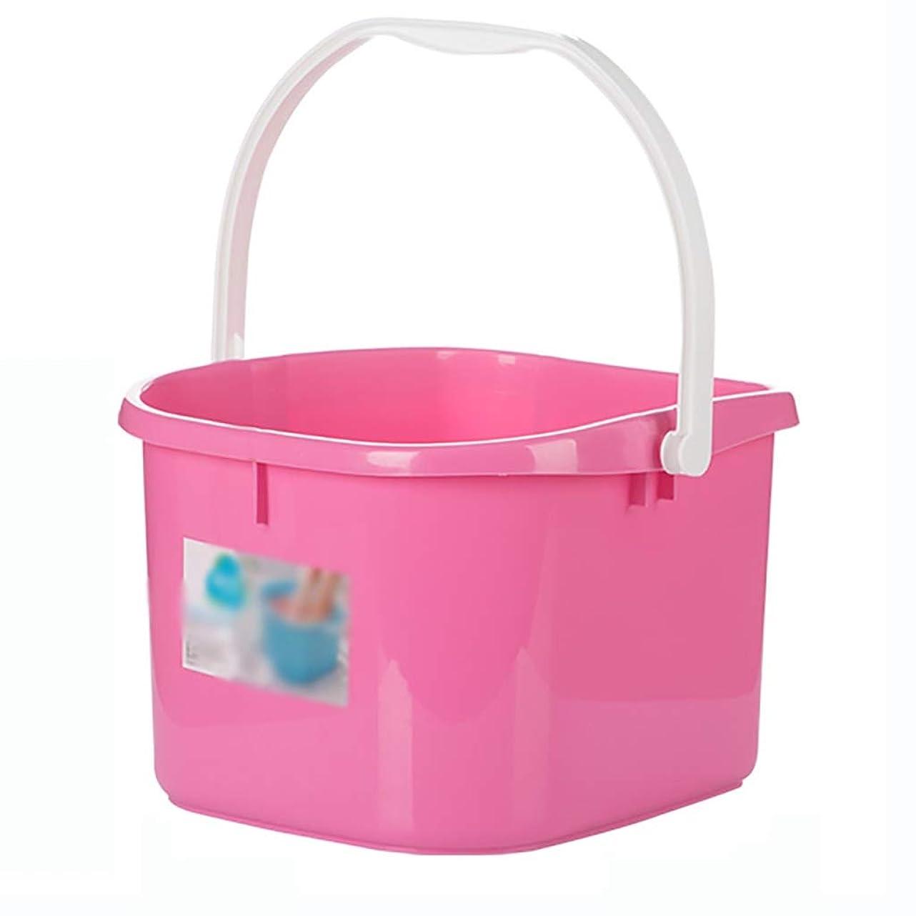 サイクル敵手綱フットバスバレル フットバスバレル厚いプラスチックマッサージフットバス身長家庭用足湯大容量の高水位34.8 * 37.8 * 22.5センチメートル (Color : Pink)