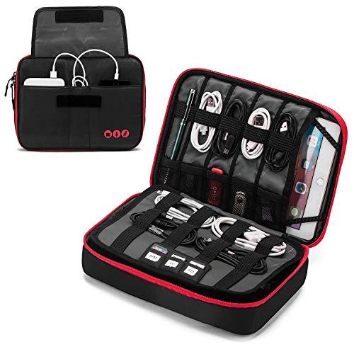 Preisvergleich Produktbild YXZQ Electronic Accessories Bag,  3-lagiger tragbarer elektronischer Organizer für Kabel,  zusätzliche Batterien,  Adapter,  USB-Sticks,  SD-Karten,  Schwarz
