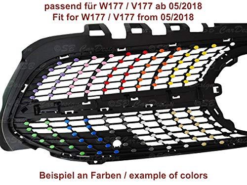 SB CarDesign Diamantgrill Folien Sticker für Mercedes A-Klasse W177 V177 AMG Grillaufkleber (Mattschwarz)