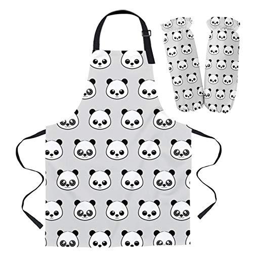 Panda de la historieta delantal Oversleeve Horno Guantes de ratón que cocinan delantales de la cocina for las mujeres Niños (Size : 1PC 66x80cm Apron)