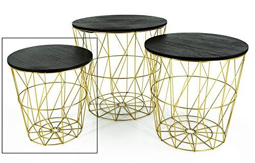 Beistelltisch Tisch mit Stauraum Couchtisch Korb Metall Holz Gold SCHWARZ Nachttisch (Klein: Ø 29 x H 30 cm)