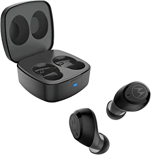 motorola Verve Buds 100, True Wireless Bluetooth Waterproof Earbuds with Portable Charging Case, SH052, Black, Small