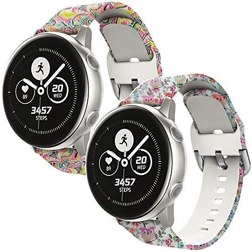 nuosiweilang Bracelet de Montre pour Samsung Galaxy Watch 42mm/Active/Active2 40mm/44mm,20mm Bande de Silicone Accessoire pour Gear S2 Classic/Garmin Vivoactive 3 Smart Watch Femmes Hommes