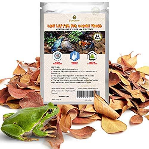 SunGrow Arena de hoja de rana, 5 cm, mini hojas para impulsar la microfauna, regula la humedad en el interior del terrario, proporciona refugio, ayuda en la reproducción, regula el pH del sustrato, 50 piezas