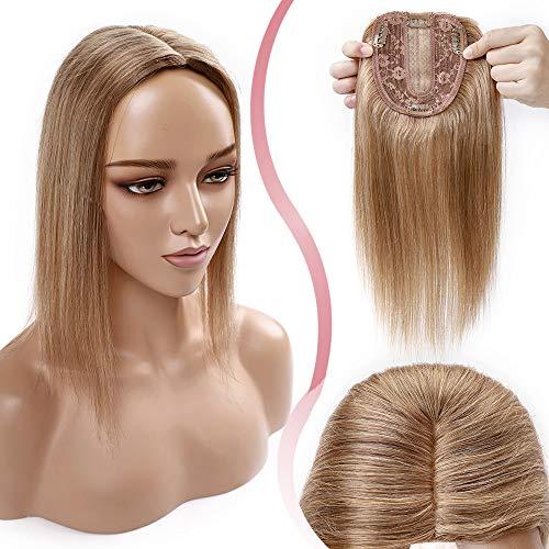 Elailite Haarteil Echthaar Topper Toupet Damen Seide Basis 25cm 35g Clip in Extensions Haarverlängerung 130% Dichte Remy Silk Base Glatt 10