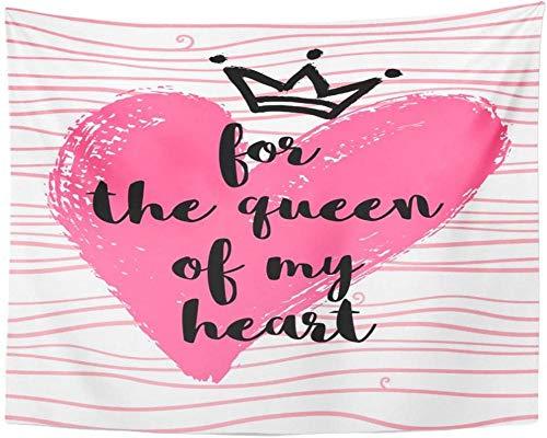 Tapiz Letra rosa con corona de corazón y para la reina de mi mensaje Día de San Valentín Tapices creativos para colgar en la pared para vivir 150x200cm