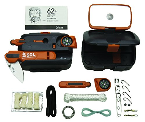 S.O.L. Survive Outdoors Longer Origin, Multi-Function Ultimate Survival Tool, Waterproof & Lightweight Case, Compact Outdoor Emergency Gear Kit, Buck Tilton Lifesaving Tips & Techniques, 6.25oz