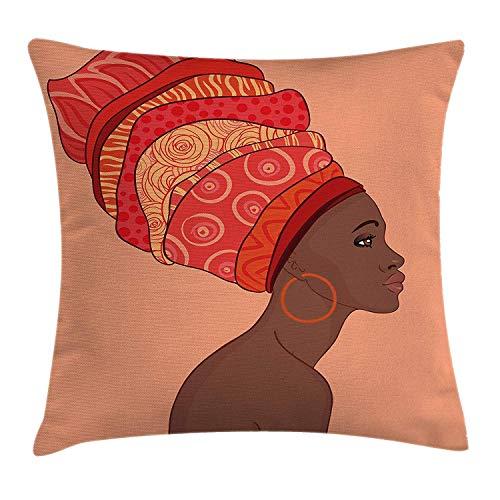 Afrikaanse vrouw gooien kussen kussensloop, exotische jonge inheemse meisje traditionele tulband volkskunst, decoratieve vierkante Accent kussensloop, 18 X 18 Inch, zalm koraal rode chocolade