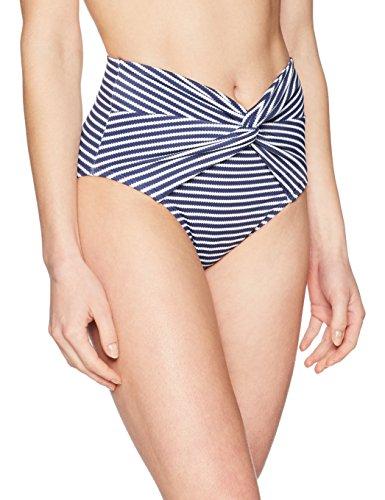 Amazon Brand - Coastal Blue Women's Swimwear High Waist Bikini Bottom, New Navy/White Stripe, XS (0-2)