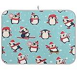 xigua Lindo tapete absorbente para secar platos de pingüinos navideños, escurridor de platos de microfibra reversible plegable, protector para encimeras, fregaderos, mesas, etc., 18 x 24 pulgadas