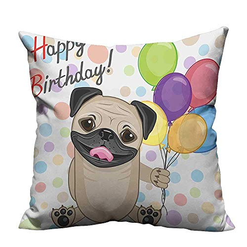 Print Bed Pillowcases for Kids Animal Cute Dog Smiling Pug with Party Balloons Greeting Card Multicolor Washable and Hypoallergenic(Double-Sided Printing)