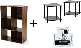 Mainstay Home Shelf Bookcase (6-Shelf Cube + Exclusive Item, Canyon Walnut + Exclusive Items) Bundle with 2 End Tables and 2 Pillows