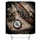 Fangkun Bathroom Shower Curtain Retro Military Theme - Pirate Gun Compass Map Pattern - Polyester Fabric Bath Curtains Art Decor Set - 12pcs Hooks - 72 x 72 inches