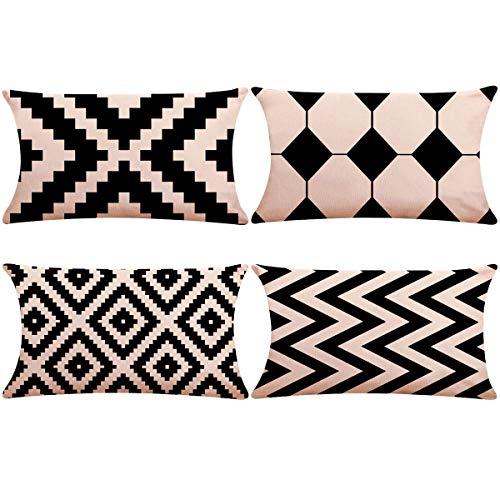 Thmyo Funda de Almohada de Lino y algodón,Decorativa, 12 Pulgadas x 20 Pulgadas (Solo Funda, sin Relleno)