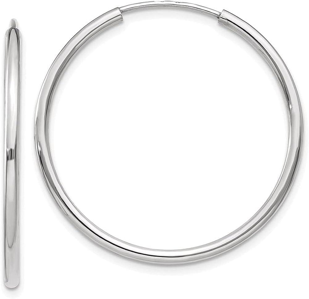 10k White Gold Endless Hoop Earrings (L-32 mm, W-32 mm)