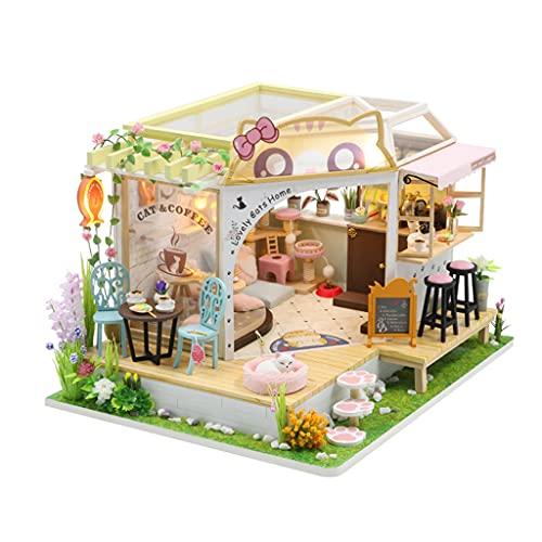 lahomia Casa de Muñecas en Miniatura Cafetería para Gatos con Kit de Muebles Artesanía de Madera Ligera con LED