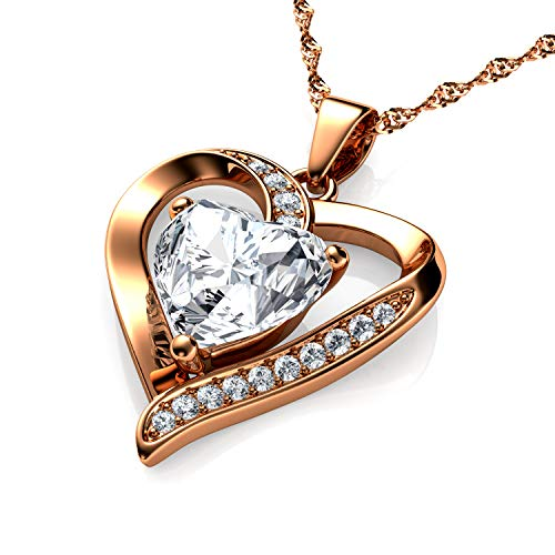 DEPHINI - Rose Necklace - Gold Plated 925 Sterling Silver - Fine Jewellery Love - 18' Premium Rhodium Plated Silver Chain - Gifts for Women