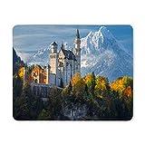 Yanteng Cojín de ratón del Juego, cojín de ratón Castillo de Neuschwanstein de montañas Nevadas y cojín de ratón del Ordenador de los árboles