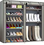 PENGKE 9 Tiers Shoe Rack Storage Organizer with Dustproof Cover Closet Shoe Cabinet Tower,Grey Pack of 1