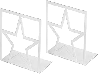 Book Ends, Bookends for Shelves, Metal Bookends Heavy Duty , Elegant and Simple Star Desgin Book End for Office, School, Bookend Supports White 1 Pair, Book Stoppers Decorative for CDs, Books, Movies