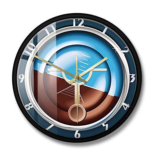Instrumento de avión Reloj de Pared Militar Reloj de Pared Decorativo de medición y Control de avión Reloj silencioso sin tictac Reloj-Marco de Metal