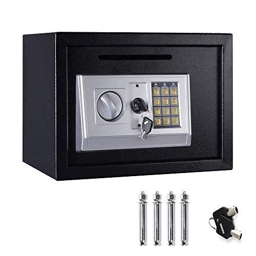 Caja fuerte electrónica de seguridad para el hogar, caja fuerte digital, 2 llaves, 16 litros, color negro