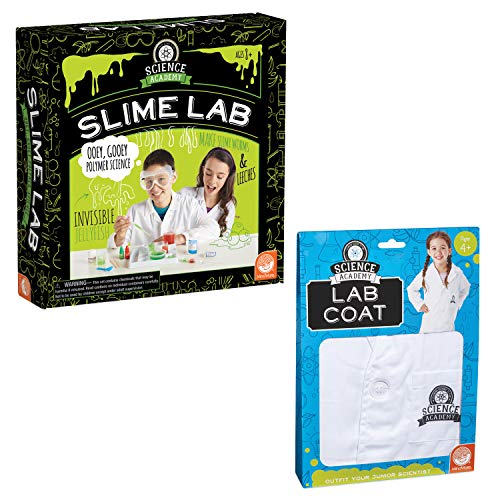MindWare Science Academy: Slime & Lab Coat - Kids & Teens Make 8 Slimy Projects with Our 22pc Set - Wild & Weird Experiments for Boys & Girls - Coat fits Ages 4-10