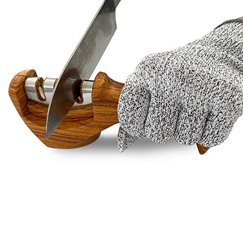 Messerschärfer mit professionellem 3-stufigem manuellen Schärfer zum Schärfen von Küchenmessern, ergonomisches Design und Holz lackiert/verchromt – Schnittfester Handschuh im Lieferumfang enthalten