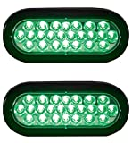 Qty. 2, Buyers Products SL66GO-x2, 6' OVAL, GREEN, 24 LED, RECESSED STROBE LIGHT & GROMMET for Tow Truck, Wrecker, Emergency Vehicle, Safety, Warning, Construction Truck