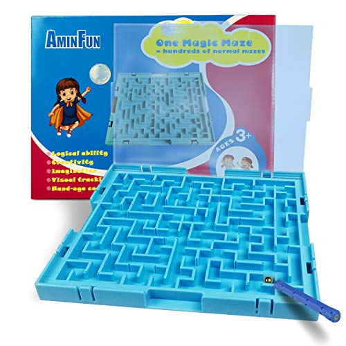 AMINFUN Magic Maze Puzzle Toy,Learning Games,Puzzle Brain Games,Kids Can Create Hundreds of Different Mazes,Gift for Preschooler 2.3.4.5 Years Old