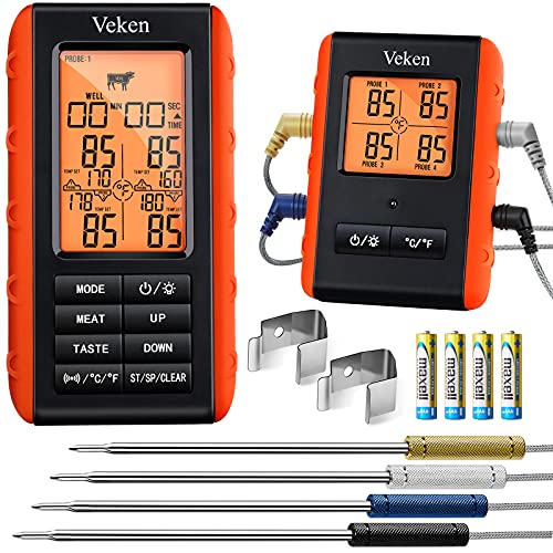 Veken Wireless Meat Thermometer, 4 Probes Grill Thermometer for BBQ Smoker Oven, Digital Cooking Food Thermometer Grilling Gifts for Men Women, 490Feet Remote in Kitchen Outdoor Camping, Orange