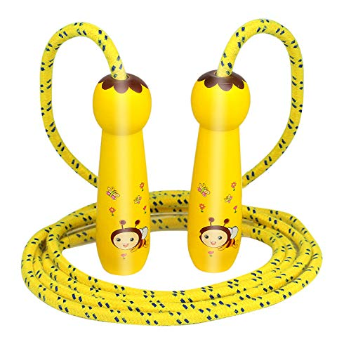 Fajiabao Springseil Kinder, Einstellbar Seilspringen mit Cartoon Holzgriff f¨¹r Fitness und Sport P?dagogisches Spielzeug f¨¹r Kinder ab 3 4 5 6 Jahre Jungen M?dchen