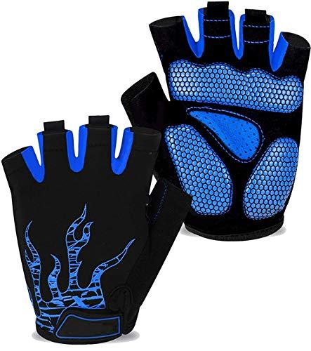 Cycling Gloves Half Finger Bike Glove MTB DH Road Bicycle Gloves Gel Pad Shock Absorbing Anti-Slip Breathable Motorcycle Mountain Biking Gloves for Men Women (Blue, Large)