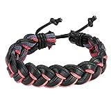 AnaZoz Bracelet Cuir Main-Tressé Chaîne Réglable Bracelet Noir Rouge Bracelet Homme Femme Dragonne