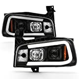 ACANII - For NEW Black 2006-2010 Dodge Charger LED Tube Style Projector Headlights Headlamps Driver & Passenger Side