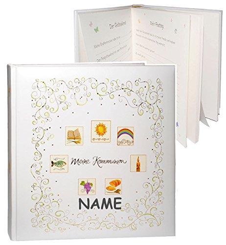 Fotoalbum / Kommunionsalbum -  Meine Kommunion  - incl. Name - Gebunden - für bis zu 180 Bilder zum Einkleben - blanko - Fotobuch / Photoalbum / Album - Euc..