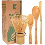BambooMN Matcha Whisk Set - Golden Chasen (Tea Whisk) + Chashaku (Hooked Bamboo Scoop) + Tea Sp…