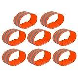 X AUTOHAUX 8pcs Reflective Bands for Arm Reflective Armbands High Visibility Night Cycling Riding Reflector Tape Straps Bracelet Orange