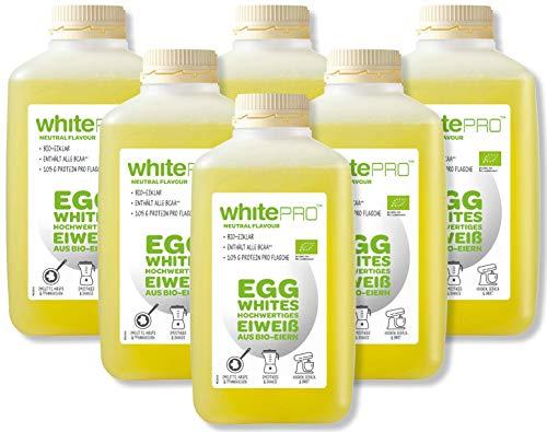 whitePRO™ BIO Flüssiges Eiklar 6 x 1 kg Flaschen – 105 g reines Eiweiß pro Flasche