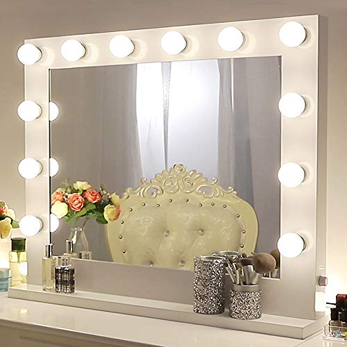 Chende Weiß Schminkspiegel mit Licht für Schminktisch, Hollywood Spiegel mit Beleuchtung für Wandmontage und Tabletop, Professioneller Theaterspiegel Gross Kosmetikspiegel mit 12 LEDs (80 X 65cm)