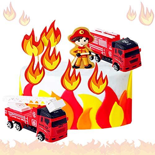 JeVenis 5 PCS Feuerwehrmann Geburtstagstorte Dekoration Firetruck Geburtstagstorte Dekoration