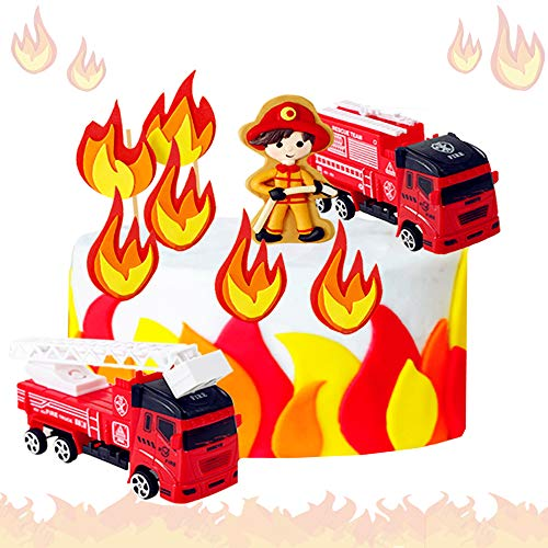 JeVenis 5 PCS Fireman Birthday Cake Decoration Firetruck Birthday Cake Decoration Firefighter Birthday Party Decoration Fire Department Party Decoration
